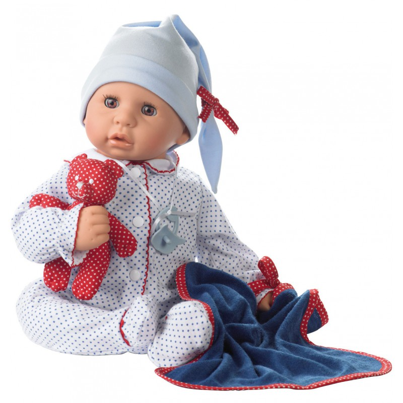 Babypop met blauw pakje, Goetz Cookie - L