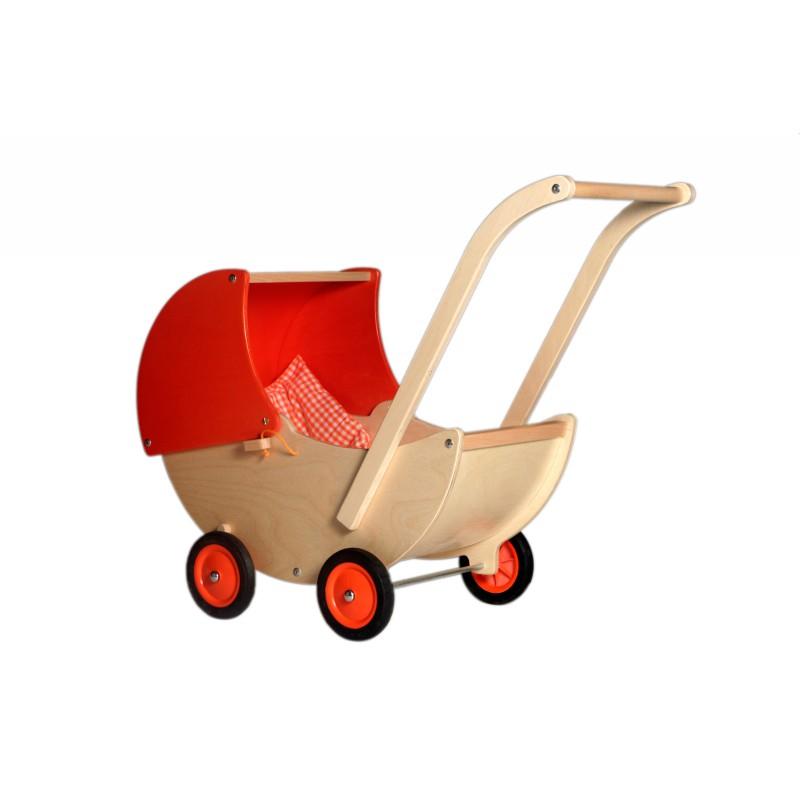 Houten poppenwagen met oranje kap, Van Dijk