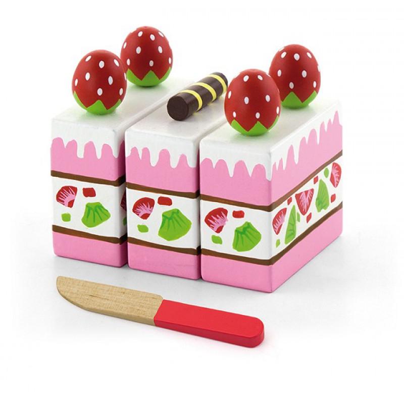 Houten aardbeientaart met mesje