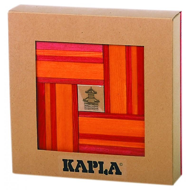 40 Kapla plankjes, rood en oranje met voorbeeldboek