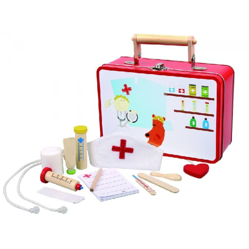 dokterskoffer met houten doktersset