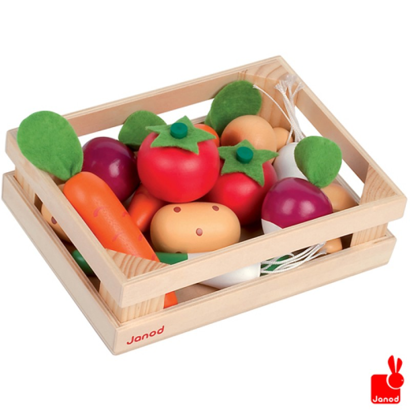 Kistje met 12 stuks houten speelgroente, Janod