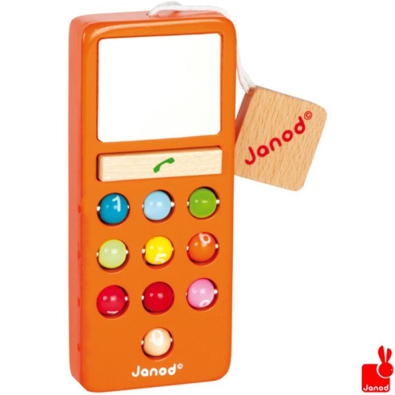Oranje houten telefoon met geluid, Janod