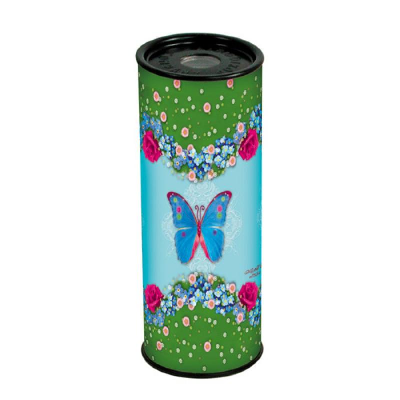 Kaleidoscoop Vlinders en bloemen, blauw