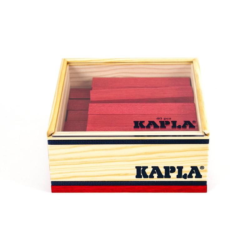 40 Kapla plankjes in kistje, rood