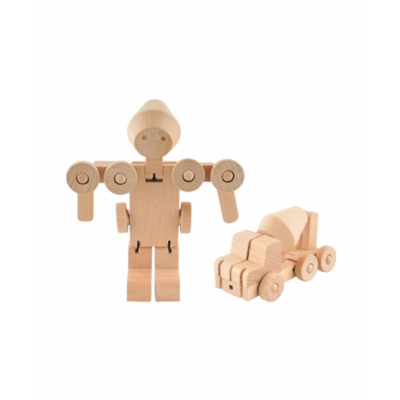 Transforfun houten robot-cementwagen