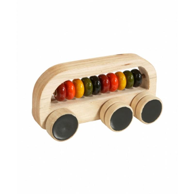 Eco houten ringenbus met ronde kralen