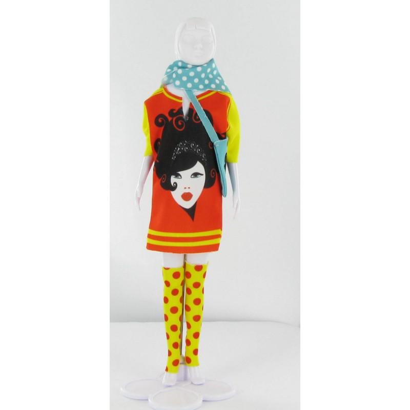 Sally Girl Red kledingset, Dress Your Doll
