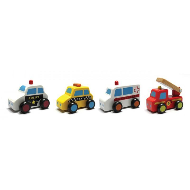 Set van 4 houten auto's hulpdiensten, New Classic Toys