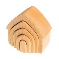 Blank houten stapelelementen huis, Grimm's