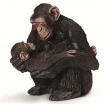 Chimpansee vrouwtje met jong, Schleich