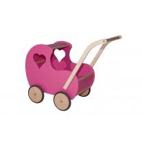 Houten poppenwagen Vintage roze, Van Dijk