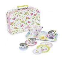 Blikken serviesje vogeltjes in koffer, Simply for Kids