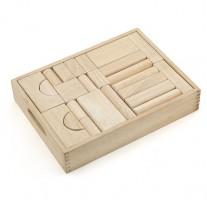 Blank houten blokken in kist