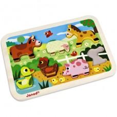 Chunky puzzel boerderijdieren, Janod