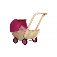 Houten poppenwagen met roze kap, Van Dijk