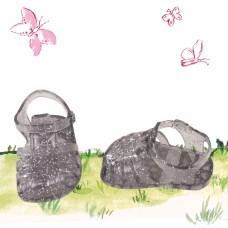 Zwarte waterschoentjes met glitter, Goetz