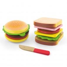 Houten hamburger & sandwich