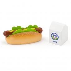 Houten hotdog en melk speelset