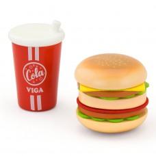 Houten hamburger en cola speelset