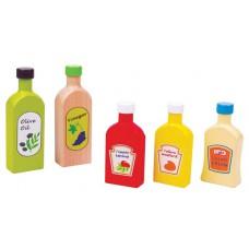 Flesjes olie, azijn en 3 sausjes, Lelin