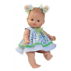 Blauw bloemenjurkje babypop 34 cm, Paola Reina