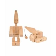 Transforfun houten robot-kraanwagen