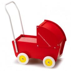 Rode houten poppenwagen met kap, Micki
