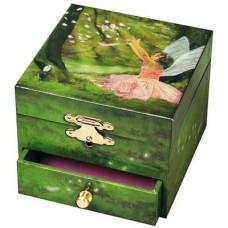 Muziekkistje met lade, elfje in het bos
