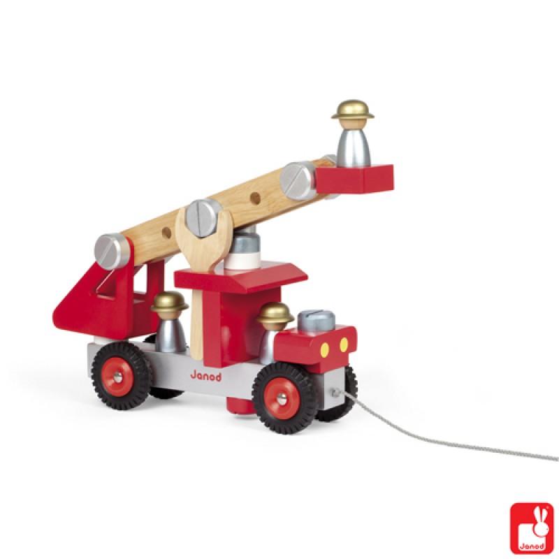 Trekfiguur brandweerauto met gereedschap, Janod
