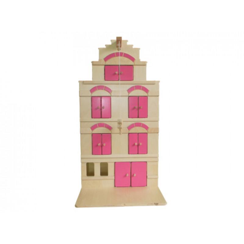 Groot houten pakhuis met takel roze, Van Dijk