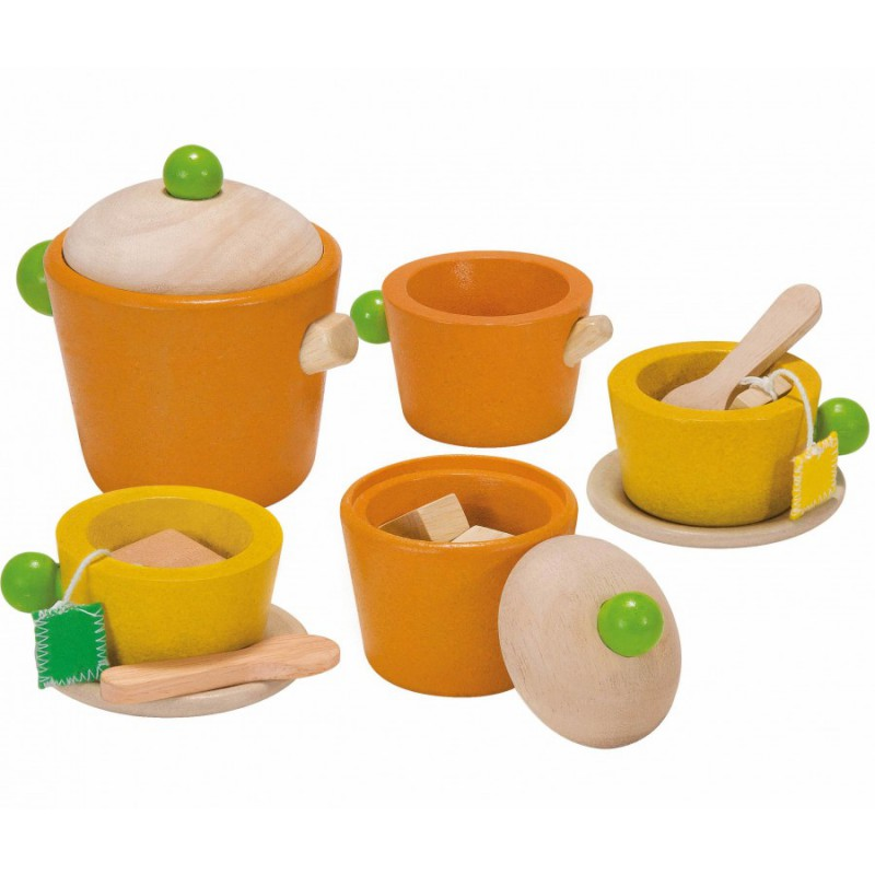 Houten theeserviesje oranje-geel, Plan Toys