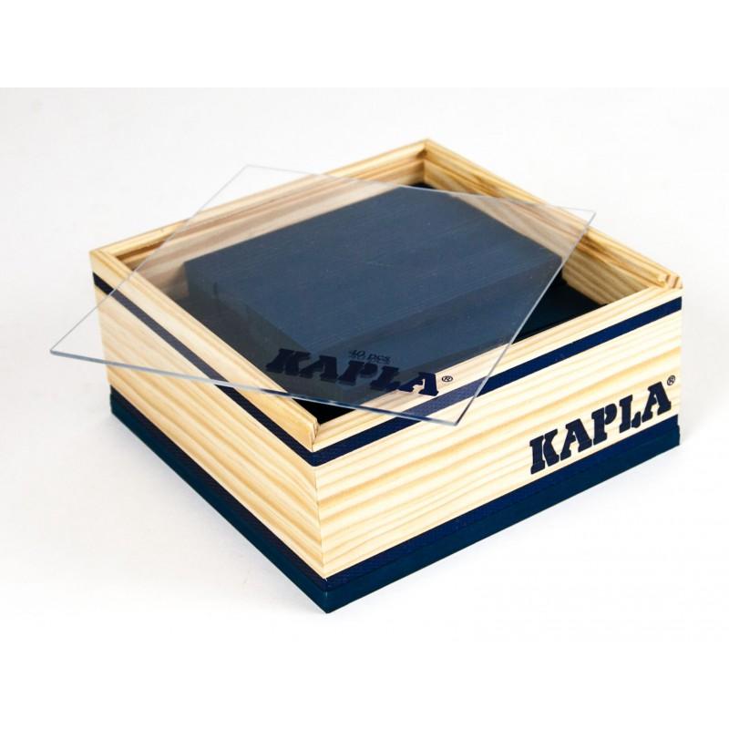 40 Kapla plankjes in kistje, donkerblauw