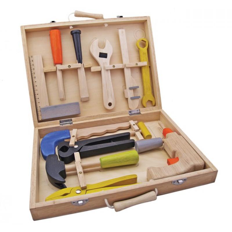 Houten gereedschapskist met 12 onderdelen