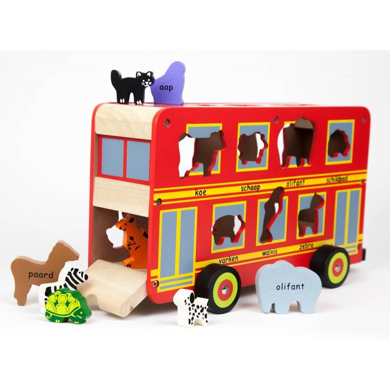 Houten dierenbus met dieren, Primi Passi