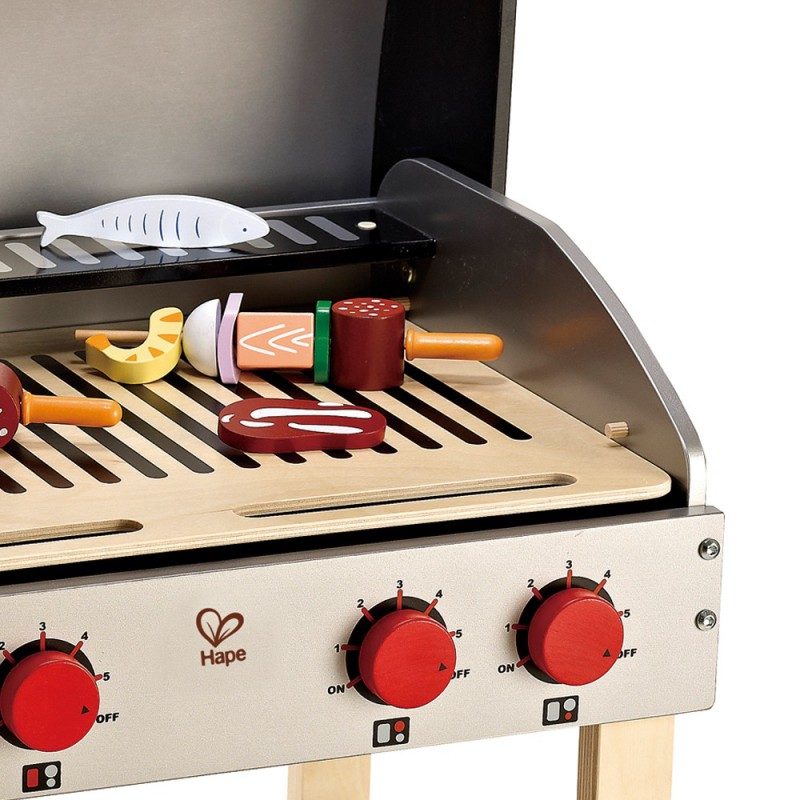Gourmet Grill houten BBQ met eten, Hape