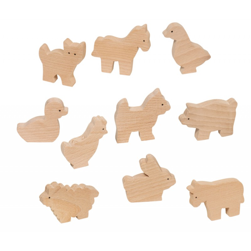 Set van 10 blankhouten boerderijdieren, Goki