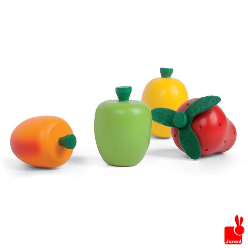 Kistje met 12 stuks houten speelgoedfruit, Janod