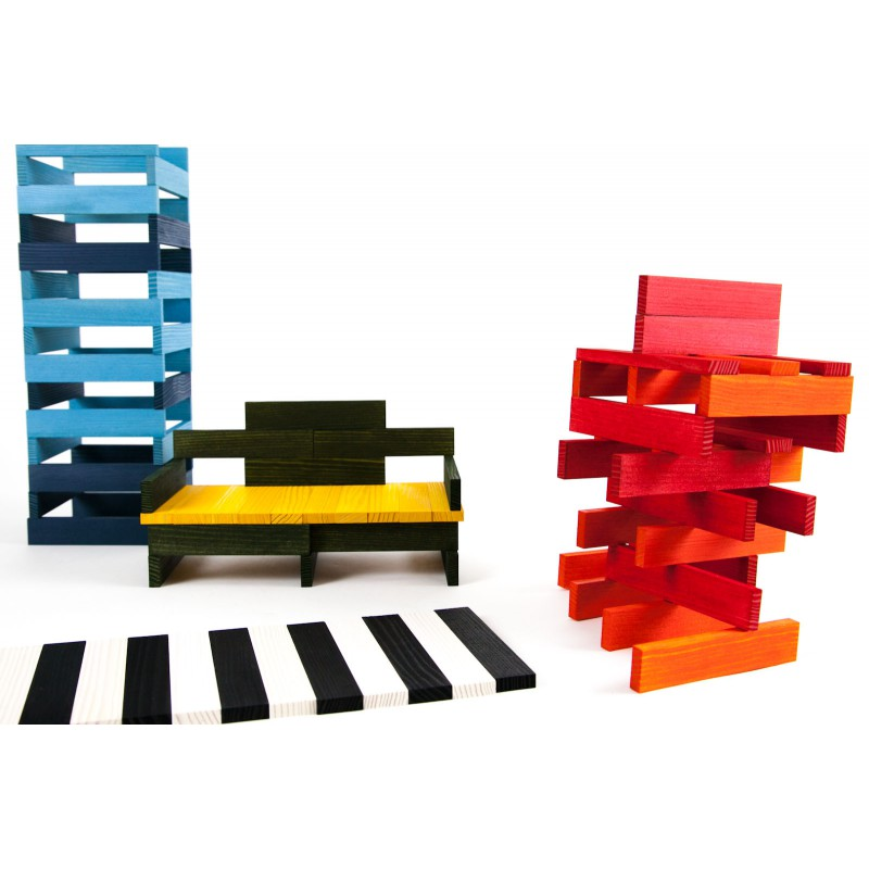 Kapla kist met 100 plankjes in 8 kleuren
