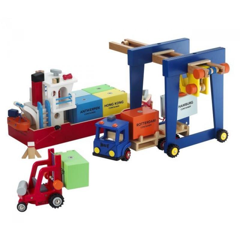 Houten containerkraan, New Classic Toys