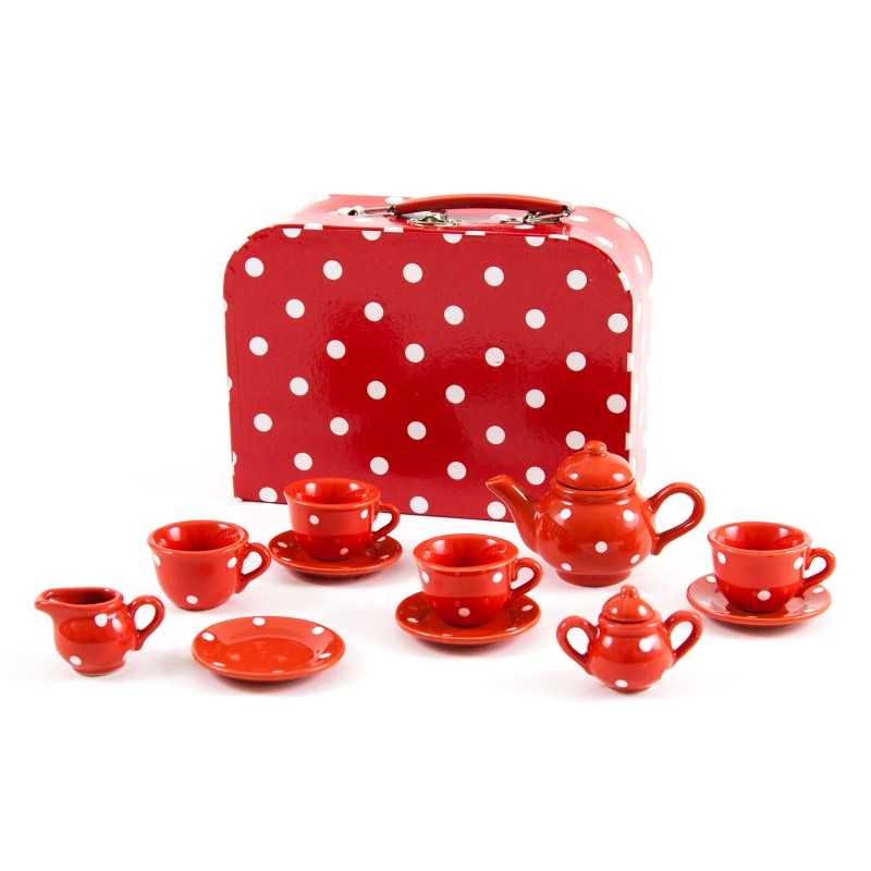 Porseleinen serviesje in koffer, rood met witte stippen
