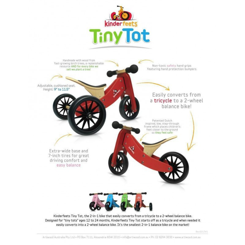 Tiny Tot rood 2-in-1 loopfiets rood, Kinderfeets