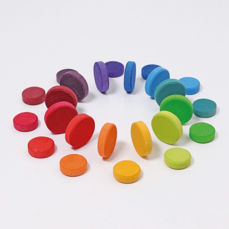 Houten schijfjes regenboogkleuren, Grimm's