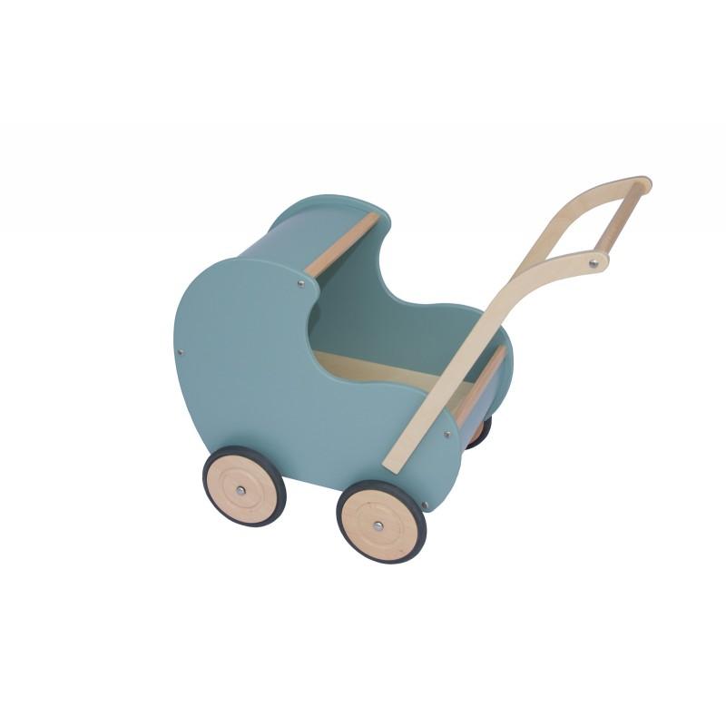 Houten poppenwagen vintage blauw, Van Dijk