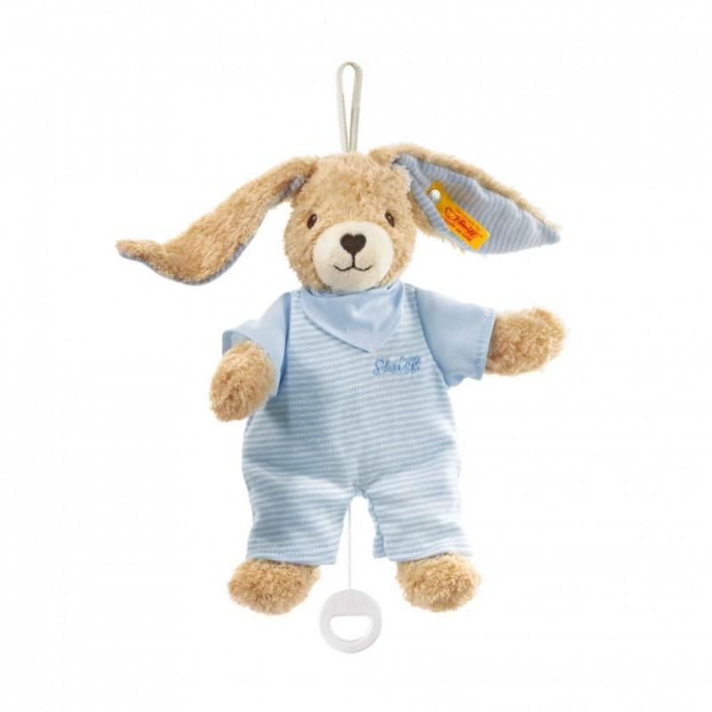 Muziekdoos konijn Hoppel blauw, Steiff