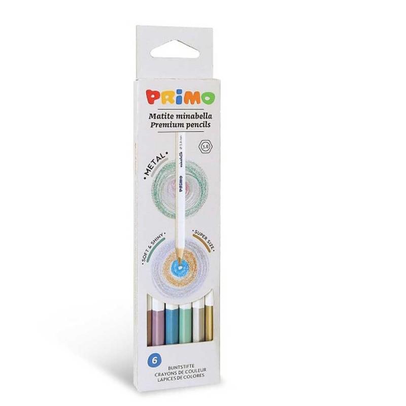 6 Minabella metallic kleurpotloden, Primo