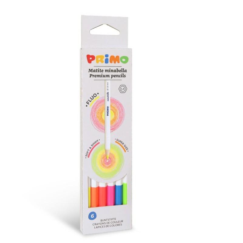 6 Minabella fluo kleurpotloden, Primo
