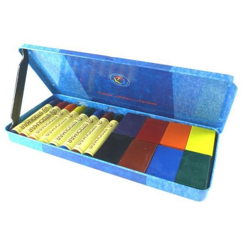 Set 8 bijenwasblokjes + 8 bijenwasstiftjes, Stockmar