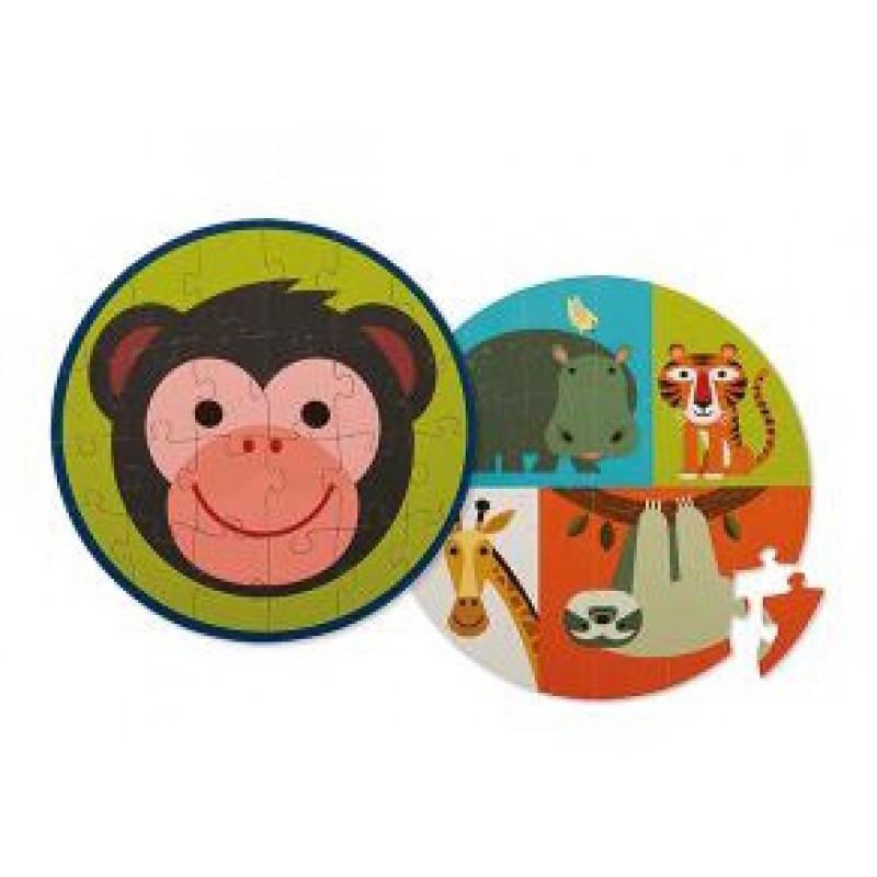 Dubbelzijdige puzzel Monkey Friends, Crocodile Creek