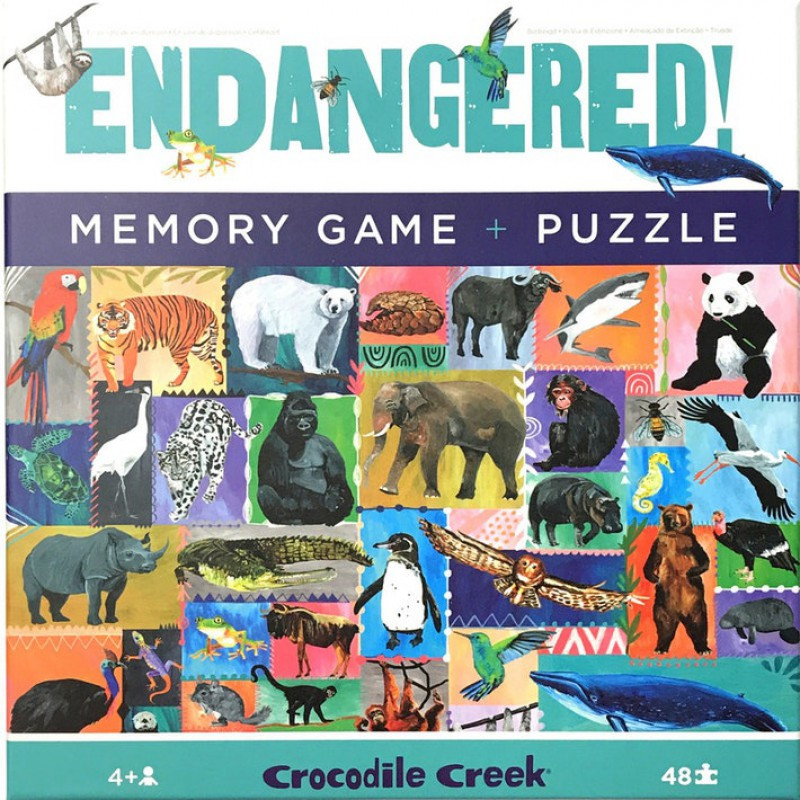 Memory & Puzzel 48 st. Endangered, Crocodile Creek